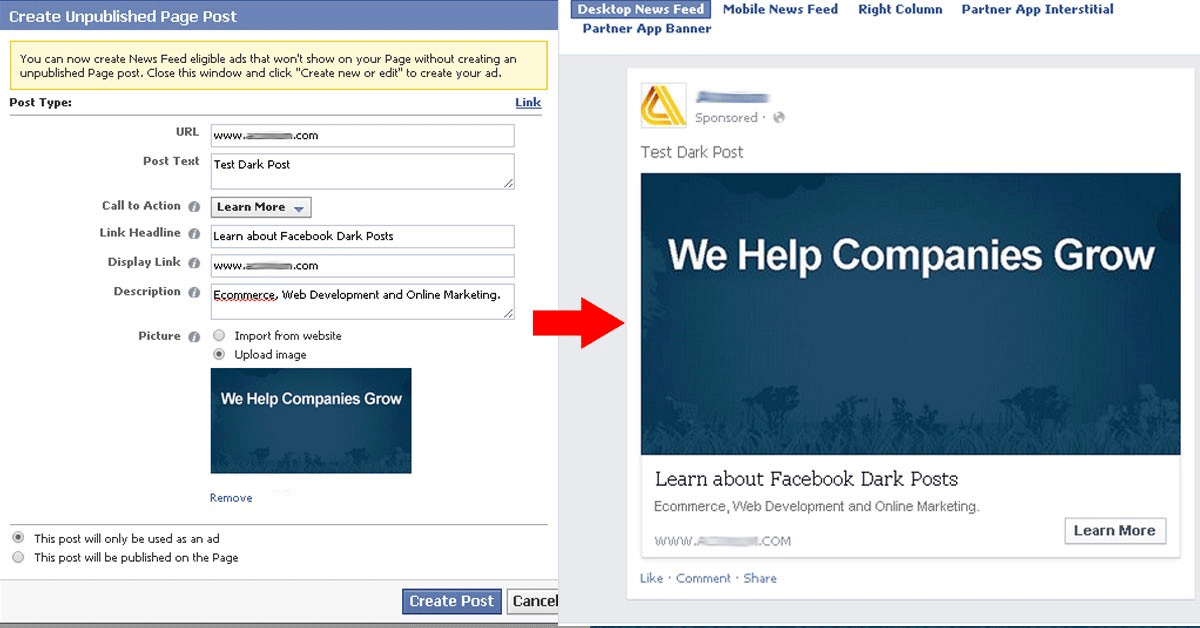 Facebook dark post creation and example