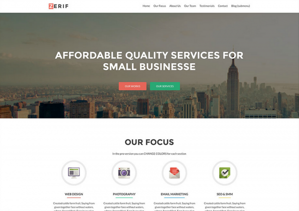 Zerif Lite One Page Free WordPress Theme