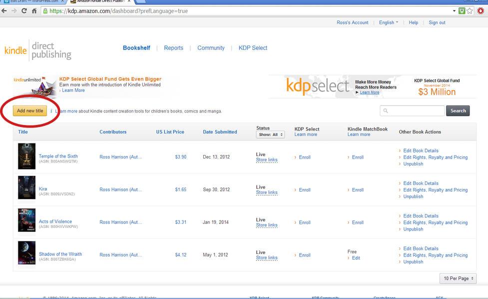 Kindle Direct Publishing Dashboard