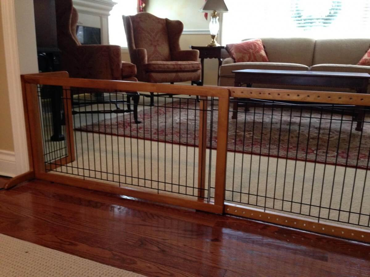 The beautiful and easy to setup Richell Freestanding Dog Gate in action!