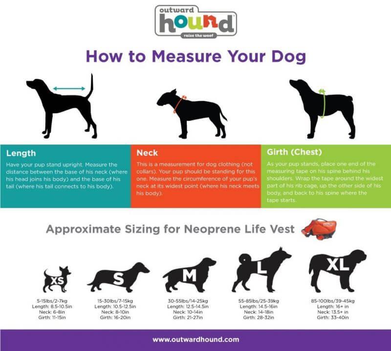 dog lifejackets measurements