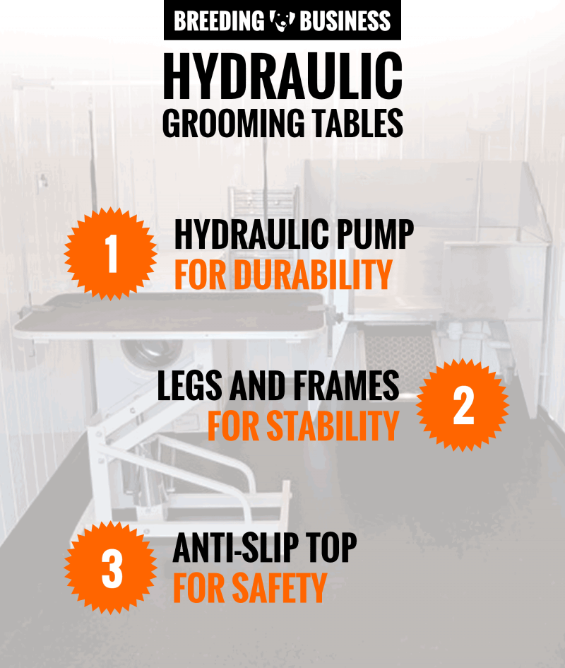 key features for grooming tables with hydraulic pumps